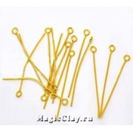 Пины с колечком, цвет золото 40х0,7мм, латунь 1уп (~100шт)