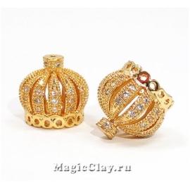Концевик Корона 14х13мм, цвет золото, 1шт