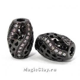 Бусина Бочонок 11х8мм, цвет черная сталь, 1шт