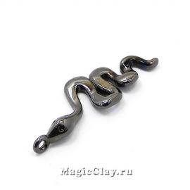 Подвеска Змея 28х9мм, цвет черная сталь, 1шт