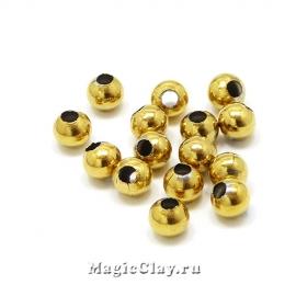 Бусина круглая 4мм, сталь, цвет золото, 30шт