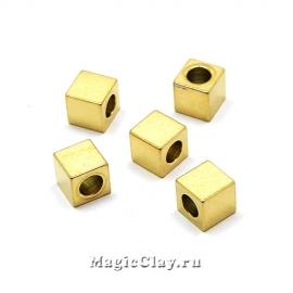 Бусина Кубик 5х5мм, сталь, цвет золото, 5шт