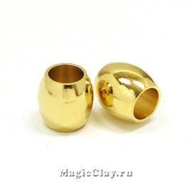 Бусина Овал 11х10мм, сталь, цвет золото, 1шт