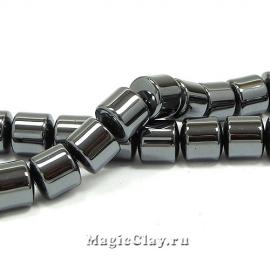 Бусины Гематит Цилиндр 10х10мм, цвет черный, 1нить (~40шт)