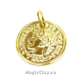Подвеска Монета 20х1мм, сталь, цвет золото, 1шт