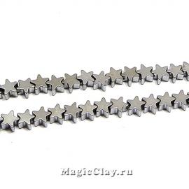 Бусины Гематит Звезда 4х4мм, цвет серебро, 1нить (~55шт)