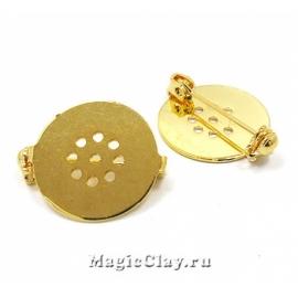 Основа для броши Круг 18мм, застёжка, цвет золото, 1шт