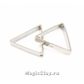 Рамка для бусин Треугольник 17х15мм, цвет платина, 1шт