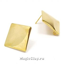 Швензы гвоздики Ромб Гладкий 26х26мм, Real 18K Gold, 1пара