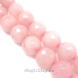 Бусины Кварц розовый, граненый 12 мм, 1 нить (~30шт)