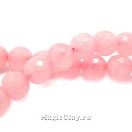 Бусины Кварц розовый, граненый 6 мм, 1 нить (~60шт)