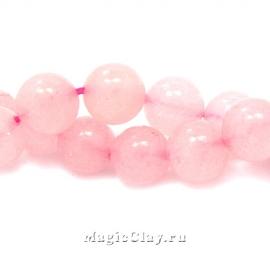 Бусины Кварц розовый, гладкий 10мм, 1нить (~38шт)