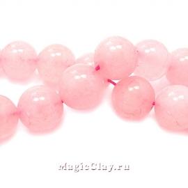 Бусины Кварц розовый, гладкий 12мм, 1нить (~32шт)
