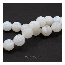 Бусины Агат белый, кракле матовый 10 мм, 1 нить (~39шт)