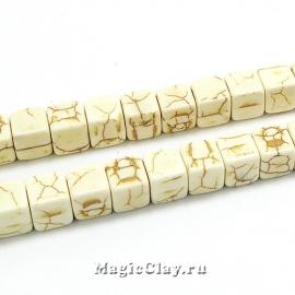 Бусины Говлит синтет. кубик 8мм, цвет кость, 1нить (~50шт)