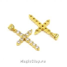 Подвеска Крестик Крупный 26х17мм, цвет золото, 1шт