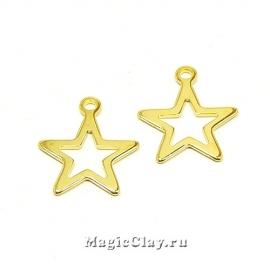 Подвеска Звезда Контур 14х12мм, сталь, цвет золото, 10шт
