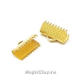 Зажимы для лент 13x6мм, сталь, цвет золото, 6шт