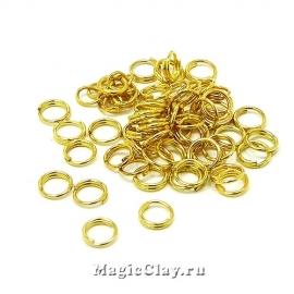 Колечки двойные 5х1мм, сталь, цвет золото, 5гр (~49шт)
