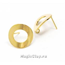 Швензы гвоздики Кольцо 18мм, Real 18K Gold, 1пара