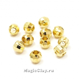 Бусина Шар Граненый 5мм, золото 18K, 10шт