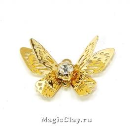 Подвеска Бабочка 13х20мм, Real 18K Gold, 1шт