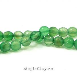 Бусины Агат зеленый, граненый 6 мм, 1 нить (~61шт)