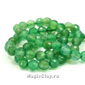 Бусины Агат зеленый граненый 6мм, 1нить (~61шт)