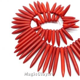 Бусины Говлит синтет. клин 20~50х5мм, цвет алый, 1нить (~45шт)