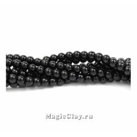 Бусины Агат черный, гладкий 4 мм, 1 нить (~92шт)