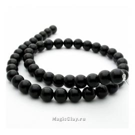 Бусины Агат черный, гладкий 8 мм, 1 нить (~48шт)