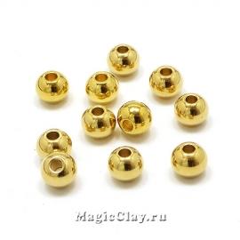 Бусина круглая 6мм, сталь, цвет золото, 5шт