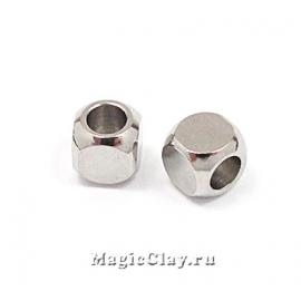 Бусина металлическая Кубик 4х4мм, сталь, 10шт