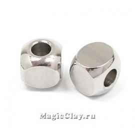 Бусина металлическая Кубик 6х6мм, сталь, 10шт