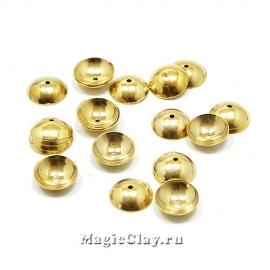 Шапочка для бусины Круглая 8x2мм, сталь, цвет золото, 6шт