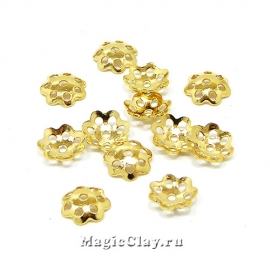 Шапочка для бусины Ажурная 6х1мм, сталь, цвет золото 1уп(~10шт)