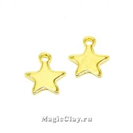 Подвеска Звезда 10х8мм, сталь, цвет золото, 10шт