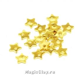 Подвеска Звёздочка 6х6мм, сталь, цвет золото, 20шт