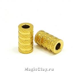 Бусина Цилиндр Полосы 11х6мм, сталь, цвет золото, 1шт