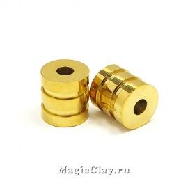 Бусина Цилиндр Полоски 11х10мм, сталь, цвет золото, 1шт