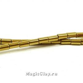 Бусины Гематит Цилиндр 5х3мм, цвет золото, 1нить (~80шт)