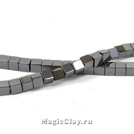 Бусины Гематит Куб 4х4мм, цвет черный, 1нить (~68шт)