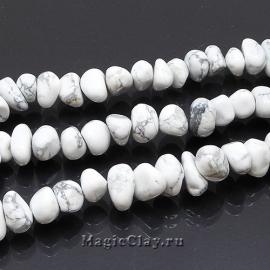 Бусины Говлит белый, галтовка 6~10х9~12мм, 1нить (~30шт)