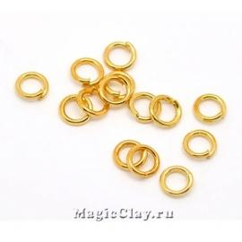 Колечки разъемные, цвет золото 4х0,8мм, латунь 1уп (~200шт)