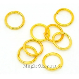Колечки разъемные, цвет золото 8х1мм, латунь 1уп (~100шт)
