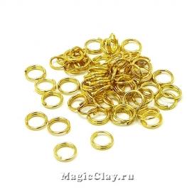 Колечки двойные, цвет золото 5х1мм, Люкс 6гр (~110шт)