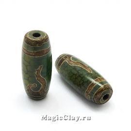 Бусины Дзи агат Золотой Ключ, зеленый 30х10мм, 1шт
