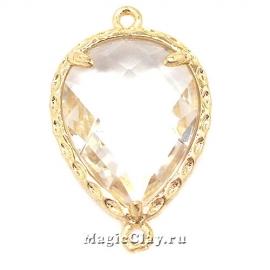 Коннектор Капля Кристалл 23х14мм, цвет золото, 1шт