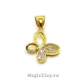 Подвеска Бабочка 12х14мм, цвет золото, 1шт