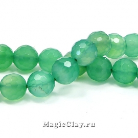 Бусины Агат зеленый, граненый 8 мм, 1 нить (~49шт)
